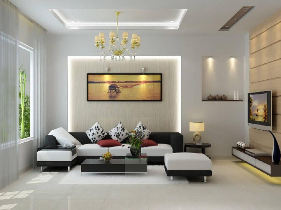 Phòng khách hiện đại:  Living room by Nguyen Hung Architects, Modern Marble