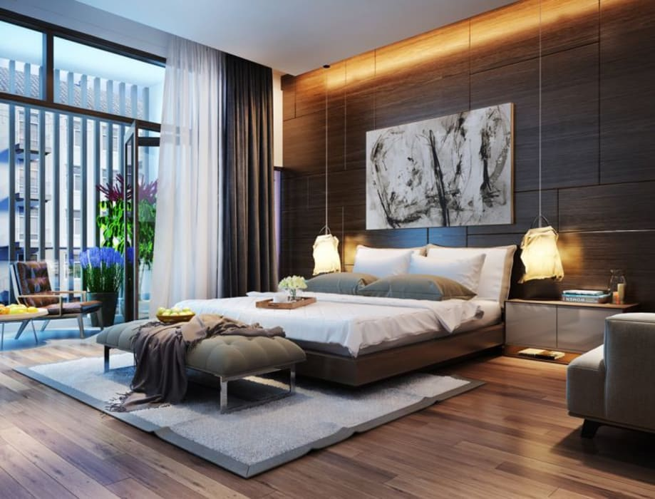 phòng ngủ master Modern Bedroom by Nguyen Hung Architects Modern Wood Wood effect
