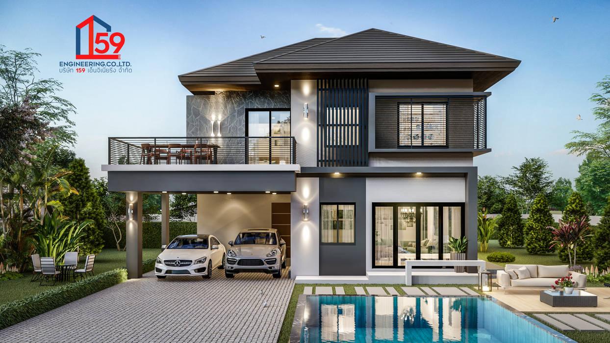 แบบบ้านพักอาศัย2ชั้น โดย บริษัท 159 เอ็นจิเนียริ่ง จำกัด โมเดิร์น