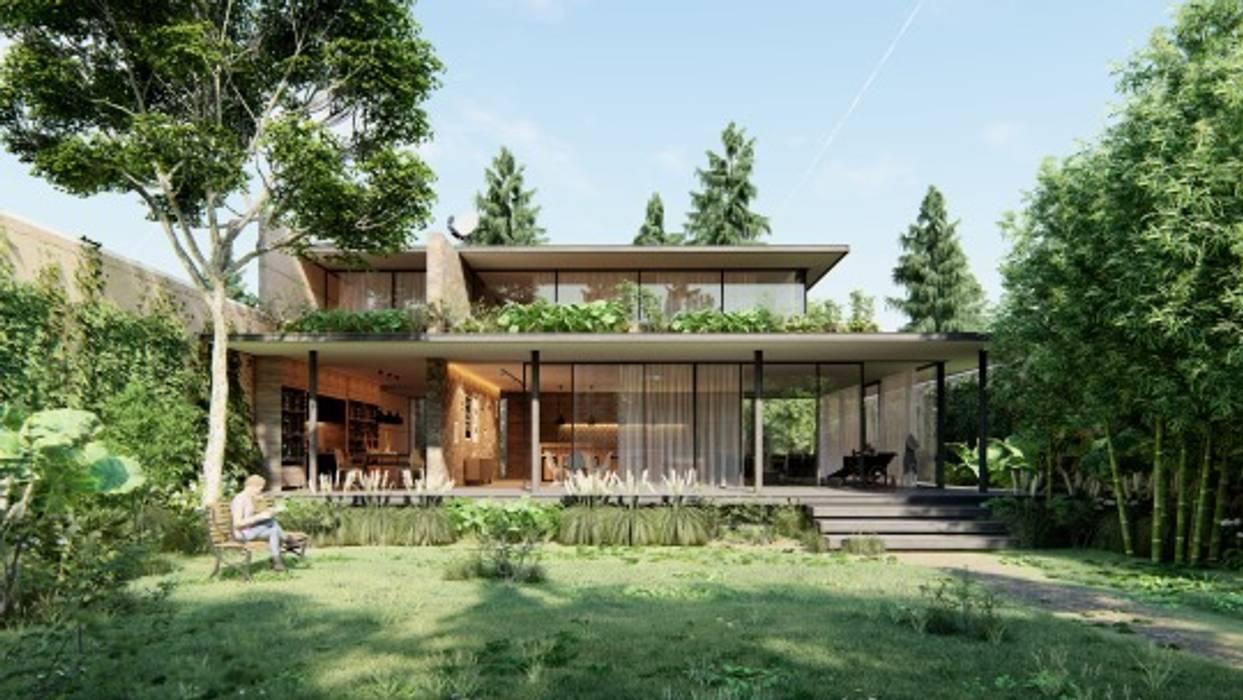 Toàn cảnh biệt thự 2 tầng rộng rãi tràn ngập không gian xanh by Alex Architectural & Design Modern Marble