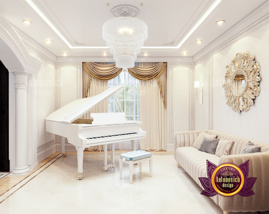 Gorgeous Piano Room in Clean Royal Interior by Luxury Antonovich Design