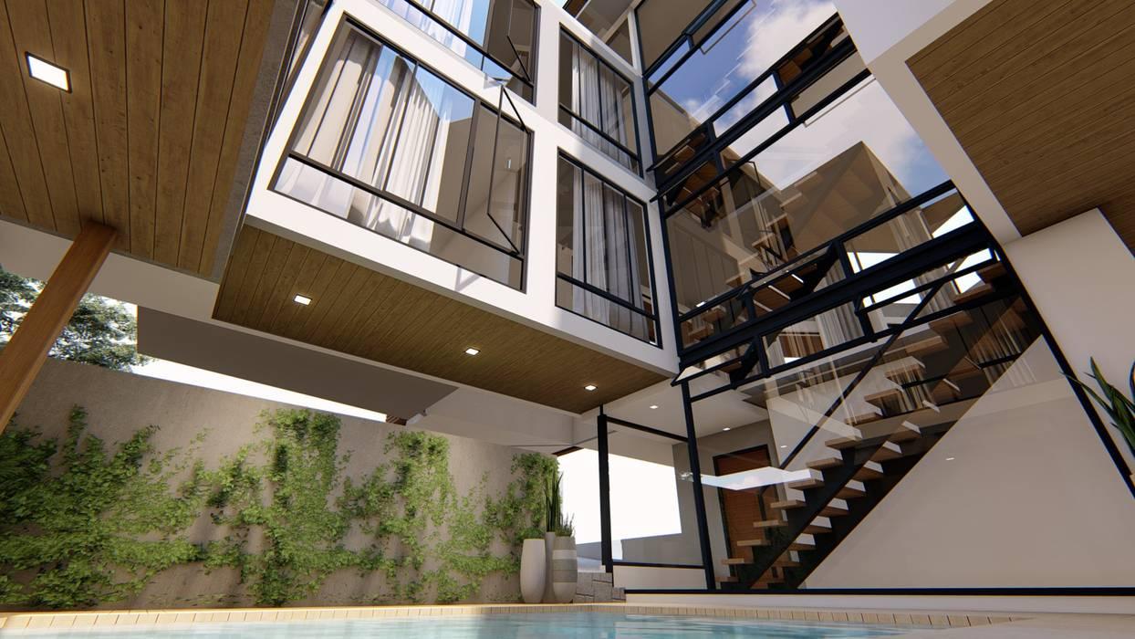 Kolam renang halaman oleh Structura Architects, Modern Kayu Wood effect
