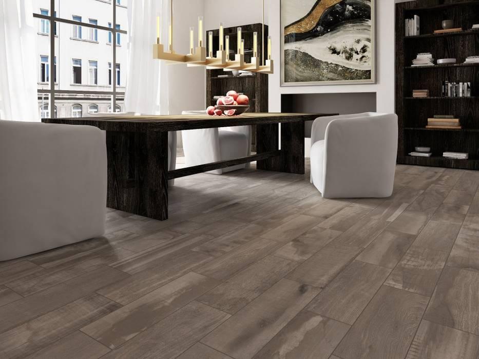 Comedor con piso estilo madera Interceramic MX Comedores rústicos Cerámico Gris