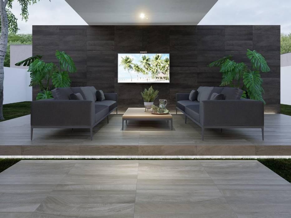 Exterior con piso y pared estilo madera Jardines de estilo moderno de Interceramic MX Moderno Cerámico