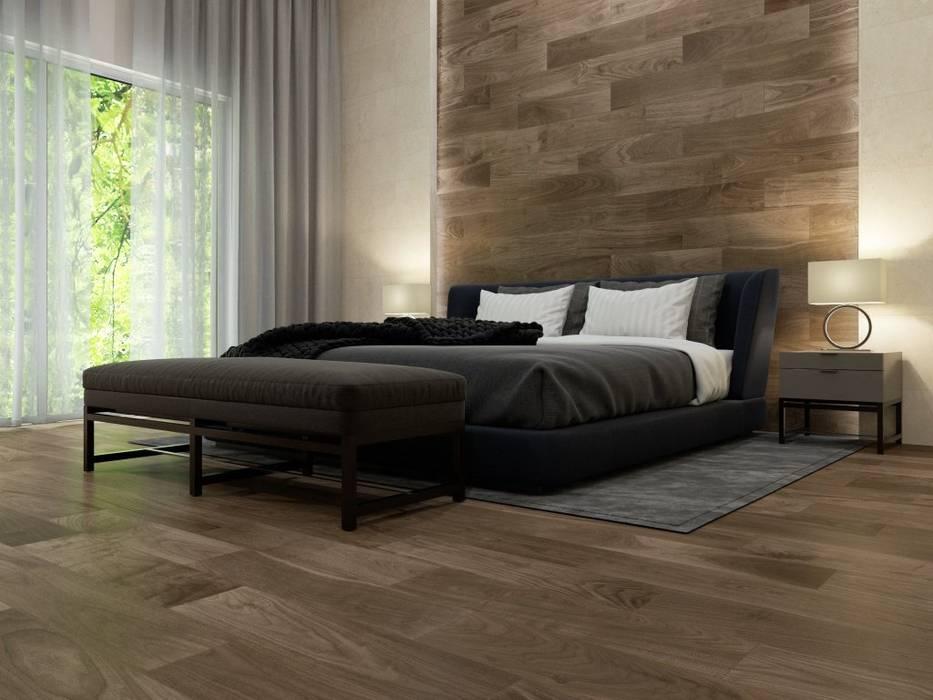 Recámara con pared y piso estilo madera Dormitorios rústicos de Interceramic MX Rústico Cerámico