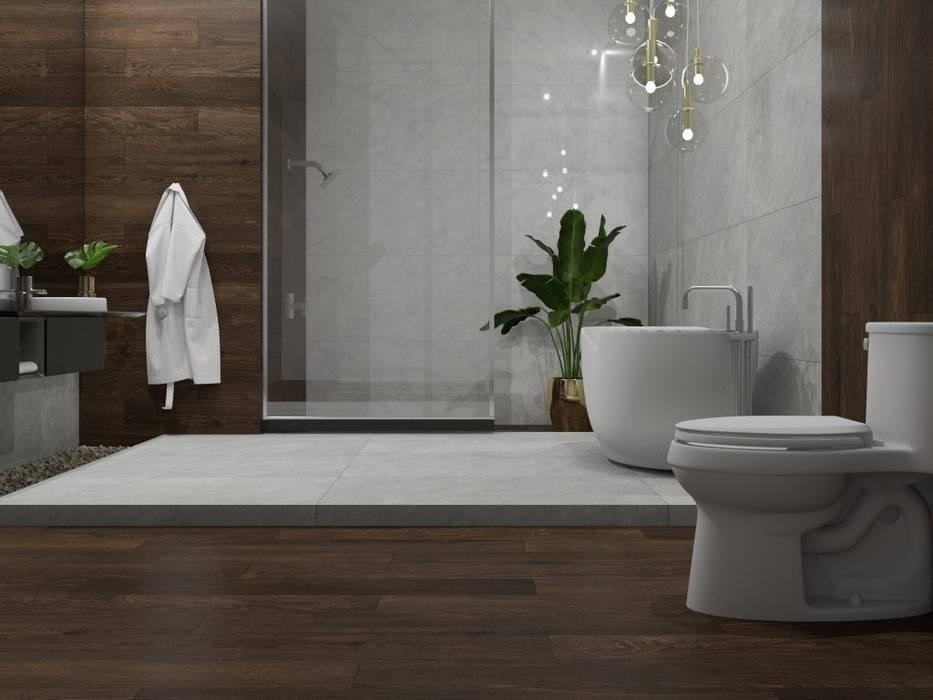 Baño con piso y pared estilo madera Baños de estilo moderno de Interceramic MX Moderno Cerámico