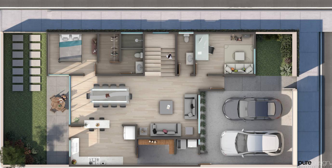 ER2 Casas minimalistas de Pure Design Minimalista