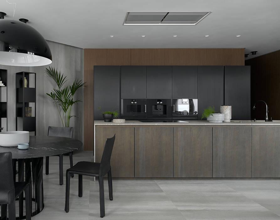 Stealth flat: Кухонные блоки в . Автор – iPozdnyakov studio, Минимализм Дерево Эффект древесины