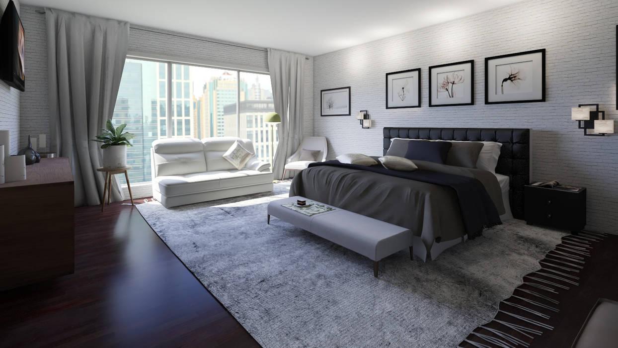 Home Staging Virtual Habitaciones modernas de Arkiline Arquitectura Optativa Moderno Aglomerado