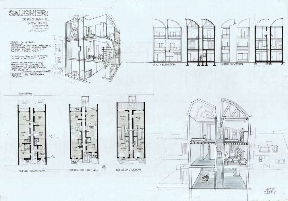 Rowhouse by ANARCHI CONSULTING PTY LTD. Minimalist Bricks
