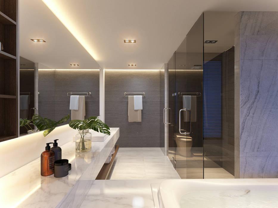 CHAM OASIS VILLA-M03 :  Phòng tắm by RIKATA DESIGN, Hiện đại