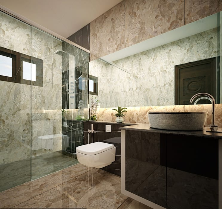 Best & Beautiful Master bath view design... Colonial style bathroom by Monnaie Interiors Pvt Ltd Colonial