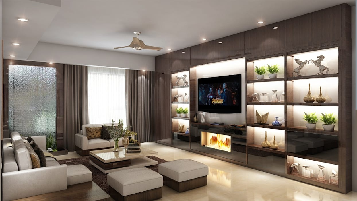 Living Room with Wall TV Unit: modern  by Square Arc Interior,Modern Plywood