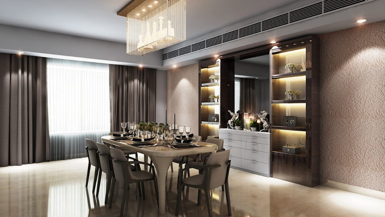 Modern Dining with  Glass Crockery Unit: modern  by Square Arc Interior,Modern