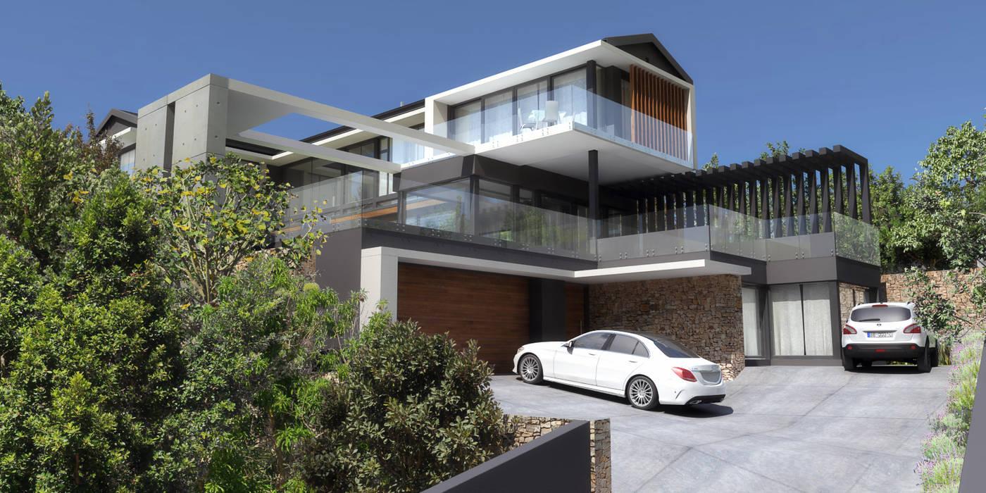 DOWN to Earth Architects & Interiors Giardino anteriore Cemento Grigio