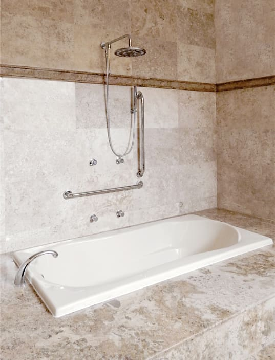 AGE/Alejandro Gaona Estudio Minimalist style bathroom Marble Beige