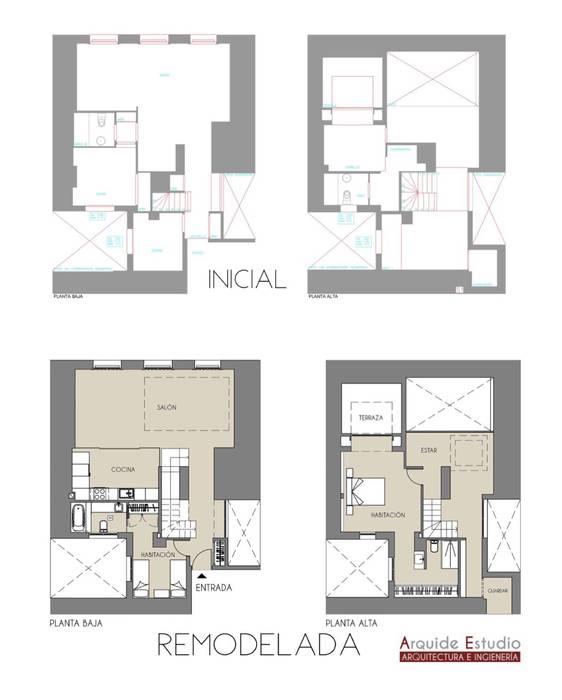 Plantas de distribución: inicial y reformada Casas de estilo minimalista de Arquide Estudio, reforma y rehabilitación en Madrid Minimalista