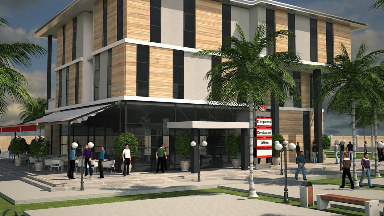 ARCONPROJE – DJİBOUTİ GİRİŞİMCİ BİNASI:  tarz Ofis Alanları, Modern Ahşap-Plastik Kompozit