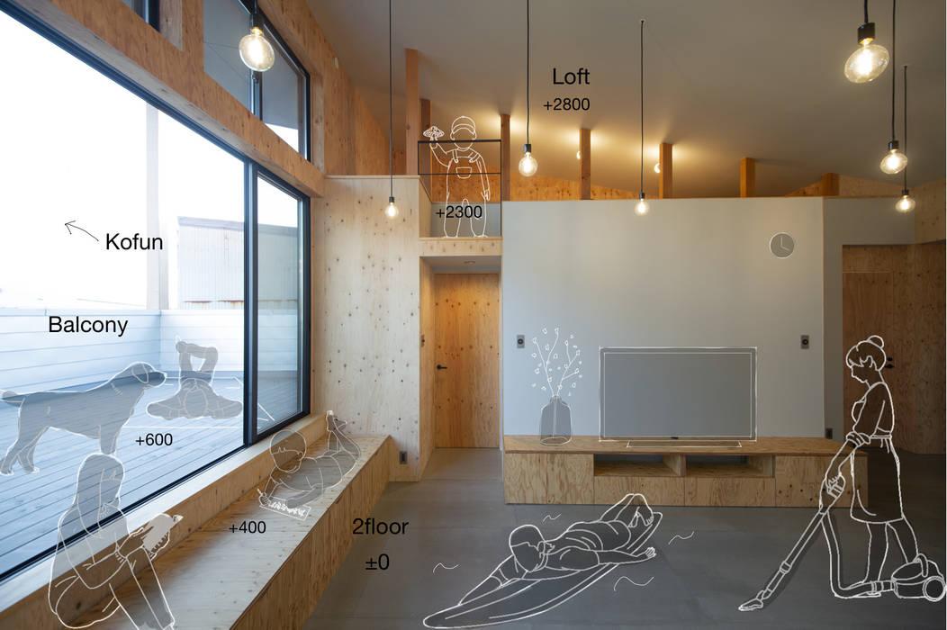 計画概要 インダストリアルデザインの リビング の 塚野建築設計事務所 インダストリアル 合板(ベニヤ板)