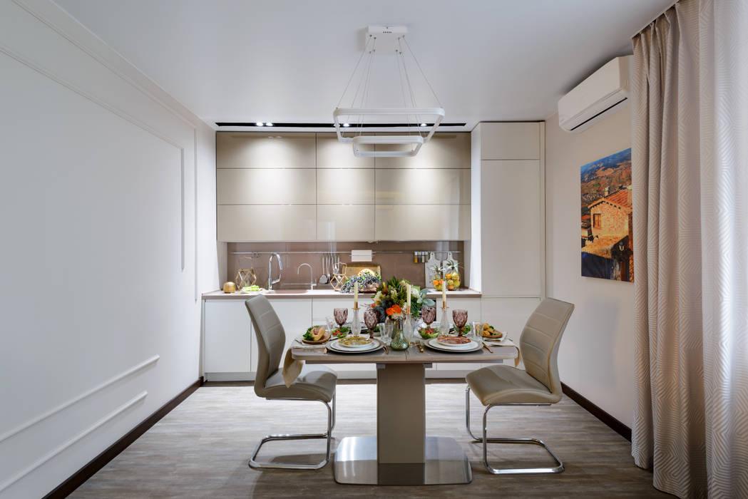 Кухня-гостиная Индивидуальный дизайнер Уткина Дарья Гостиные в эклектичном стиле Бежевый