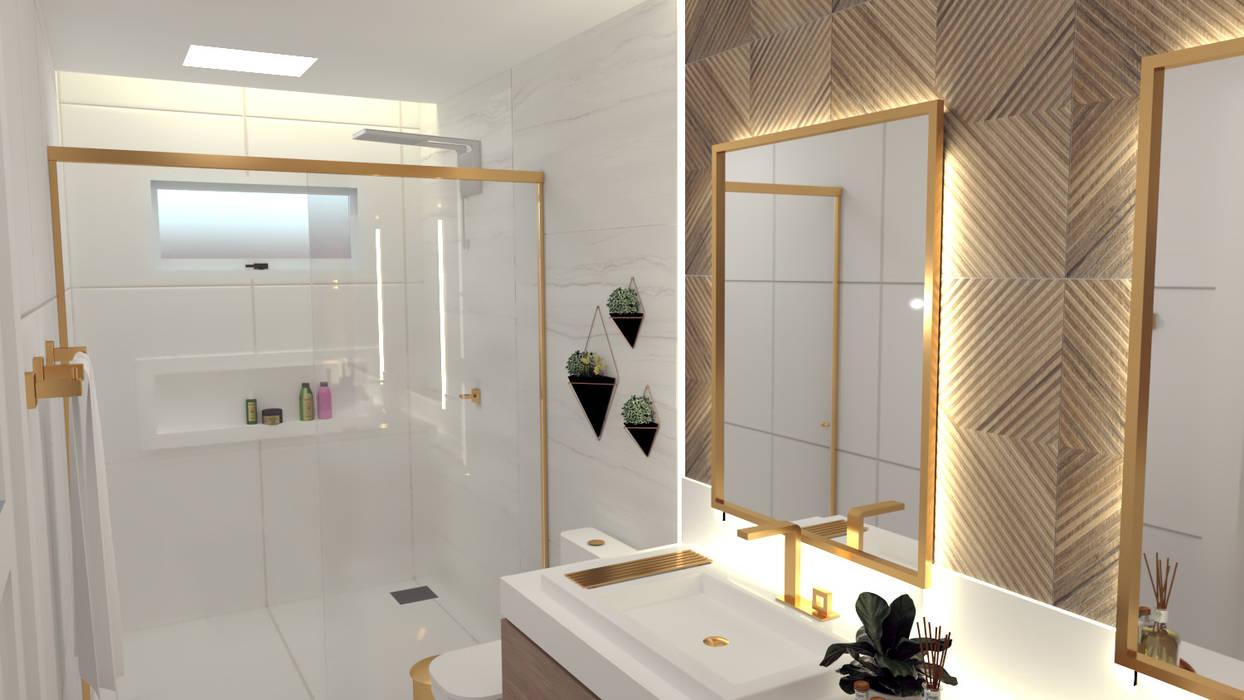 Banheiro com uso da cor cobre, revestimentos em branco e madeira Banheiros modernos por Joana Rezende Arquitetura e Arte Moderno