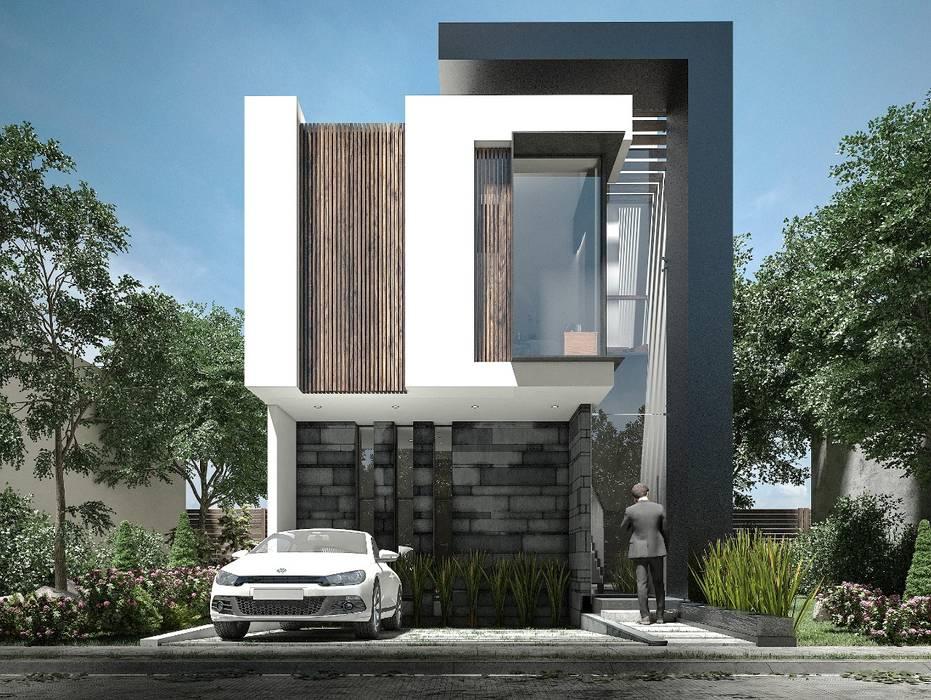 Hermosa fachada moderna con una bellísima combinación de colores : Casas de estilo  por Rebora, Moderno
