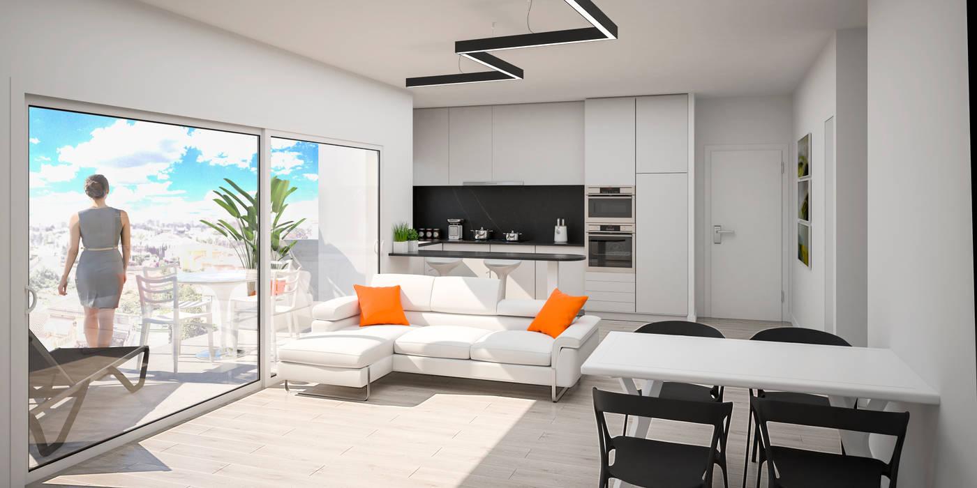 Salón-comedor y cocina integrada Salones de estilo moderno de ARQUIJOVEN SLP Moderno