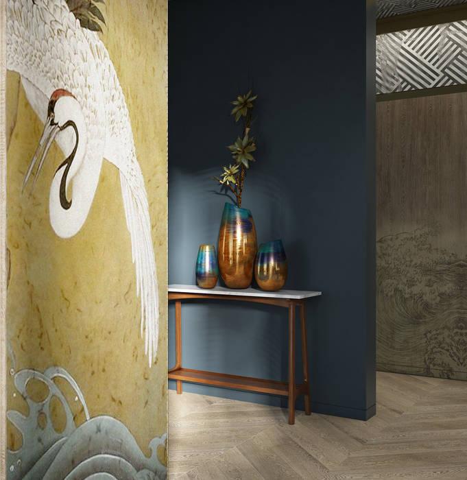 С азиатским акцентом naer interior Гостиные в эклектичном стиле Дерево