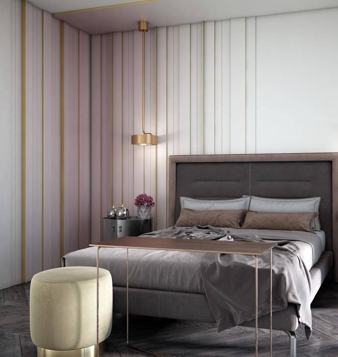 С азиатским акцентом naer interior Спальня в эклектичном стиле Твердая древесина Розовый