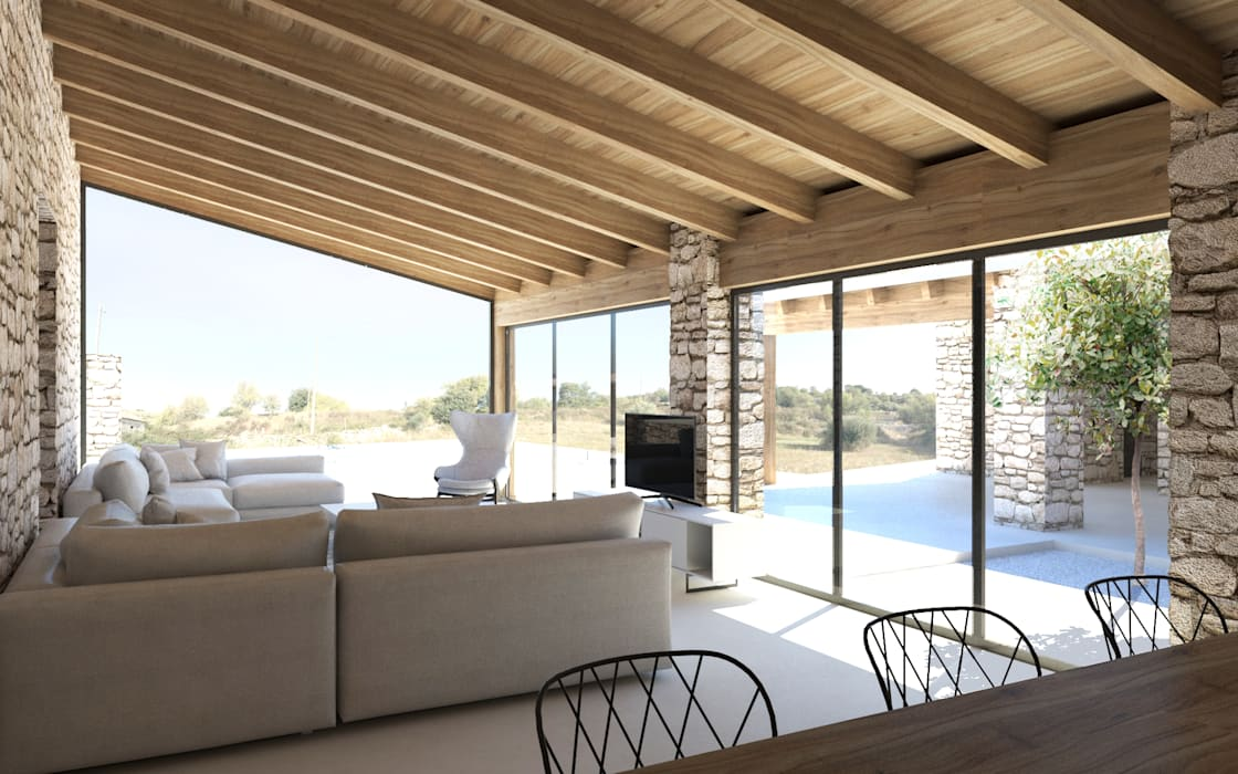 La corte aperta sulla piscina e sulle campagne Soggiorno rurale di DFG Architetti Associati Rurale