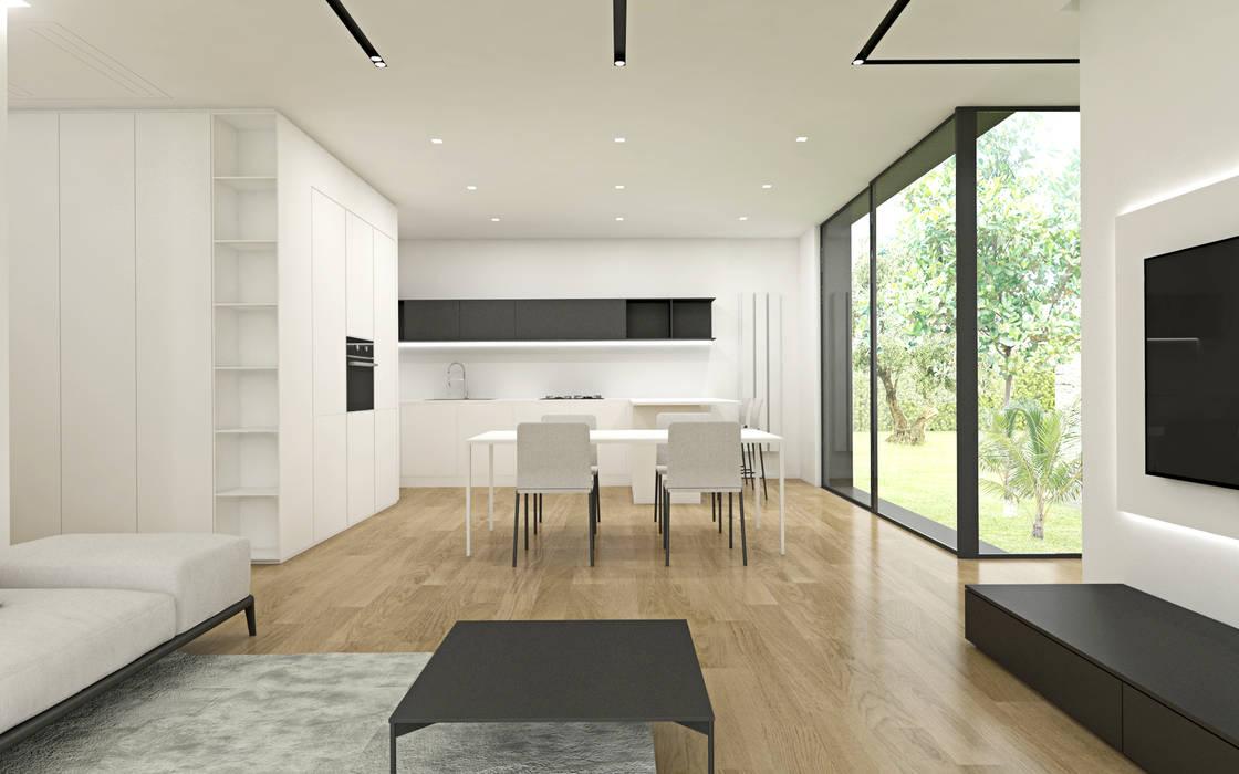 Zona giorno con la parete attrezzata cantinetta Sala da pranzo moderna di DFG Architetti Associati Moderno