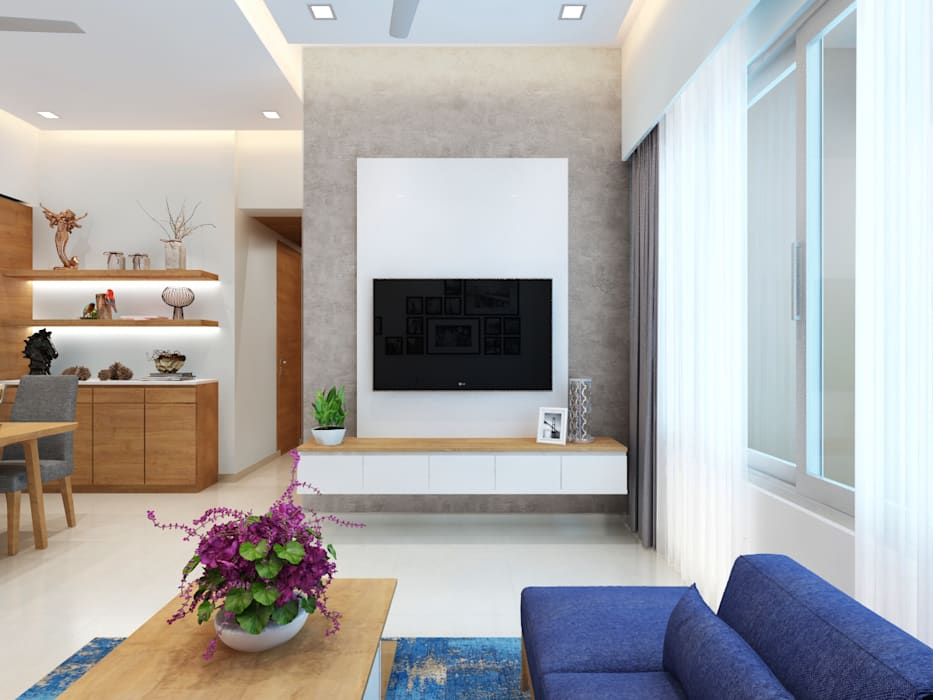 Living room (tv unit):  Living room by The inside stories - by Minal,Minimalist Plywood