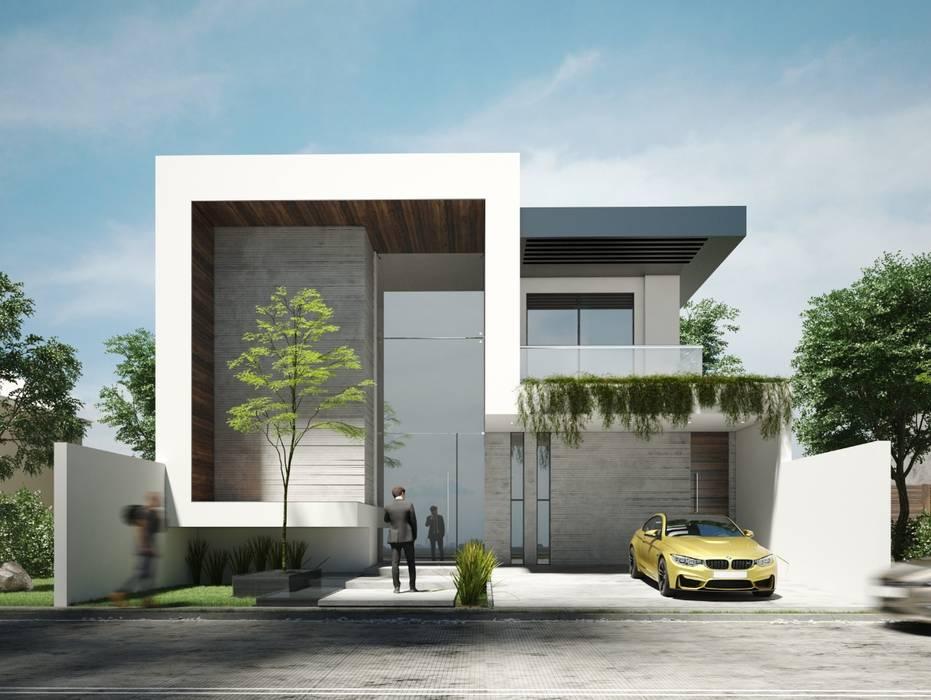 Fachada minimalista de increíble residencia. Casas de estilo minimalista de Rebora Arquitectos Minimalista Concreto