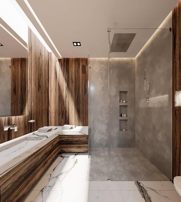 Bellísimo baño de residencia de lujo Rebora Arquitectos Baños minimalistas Concreto Gris