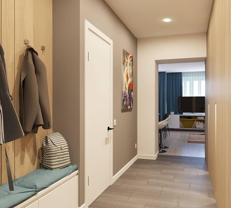 Интерьер квартиры на пр. Строителей *Colors* Коридор, прихожая и лестница в модерн стиле от Дизайн - Центр Модерн