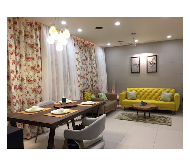 2BHK | 24k Wakad, Pune:  Living room by Nikhil Kanthe,Eclectic