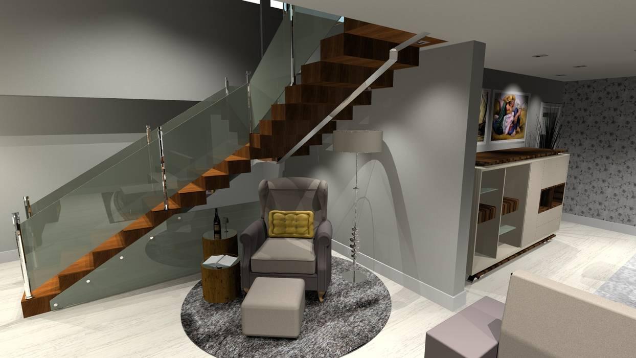 Escada com madeir macicça e corrimão em vidro e inox polido. por Arch Design Concept Moderno Madeira maciça Multicolor