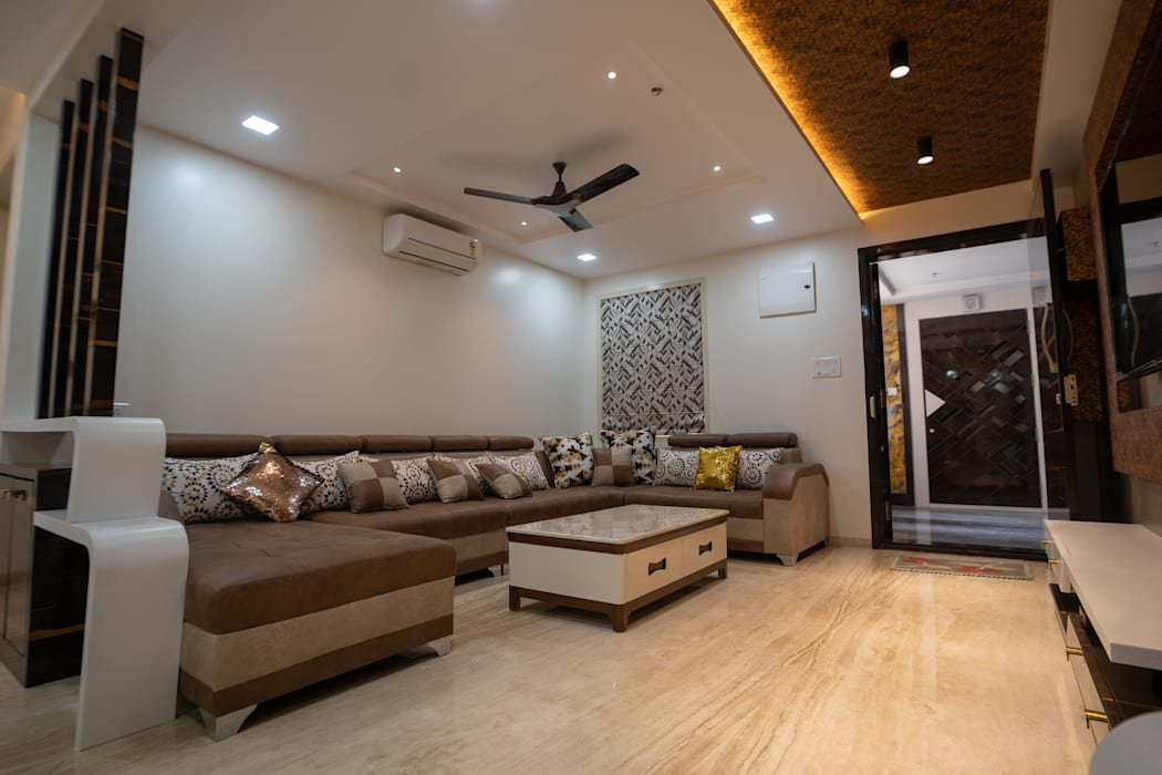 Luxurious Living Room Designed by Nabh Design & Associates Nabh Design & Associates Modern living room Marble Brown