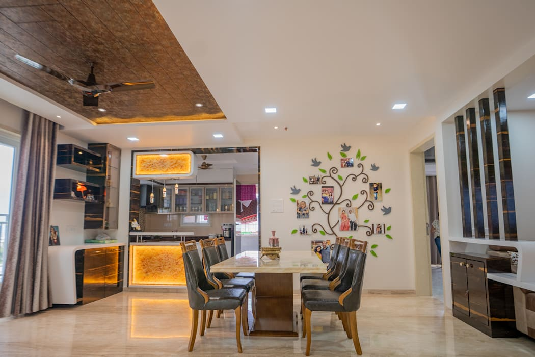 Luxurious Dining Area Designed by Nabh Design & Associates Nabh Design & Associates Modern dining room Engineered Wood Beige
