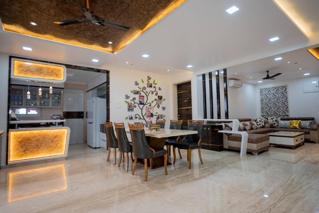 Luxurious Dining Area Designed by Nabh Design & Associates Nabh Design & Associates Modern dining room Copper/Bronze/Brass Beige