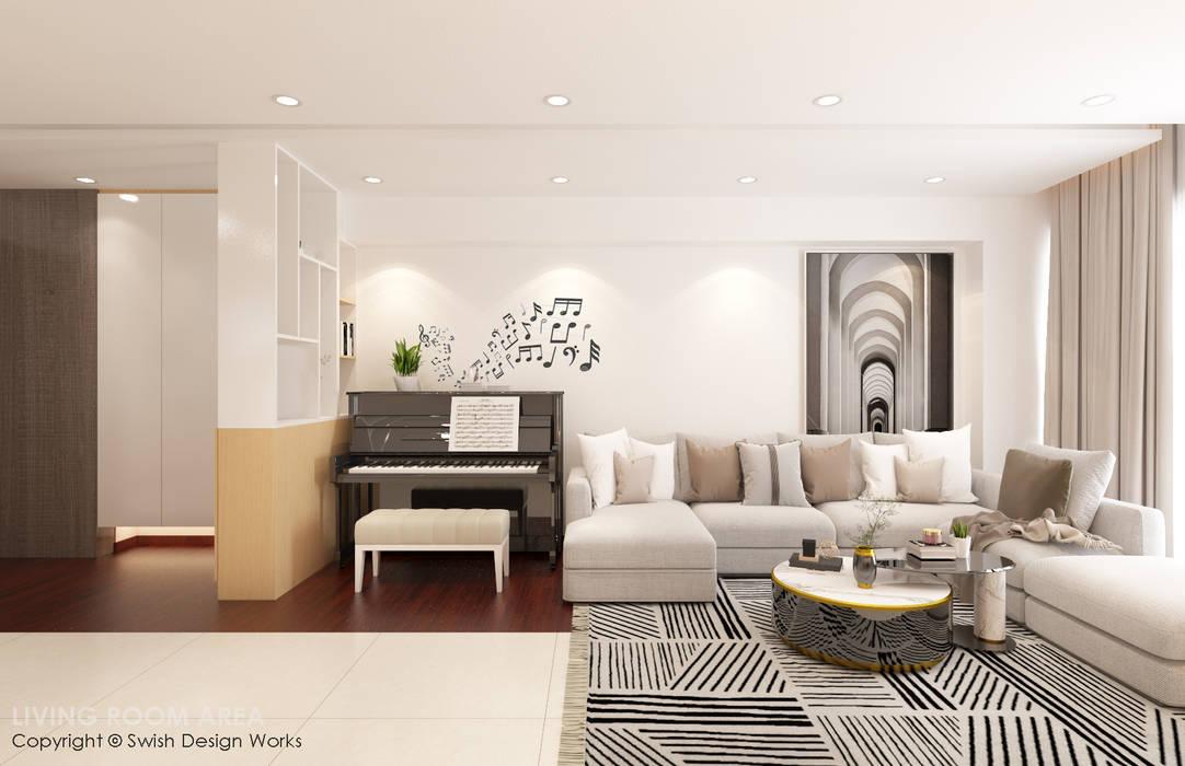 Swish Design Works Salas de estilo moderno Contrachapado Blanco