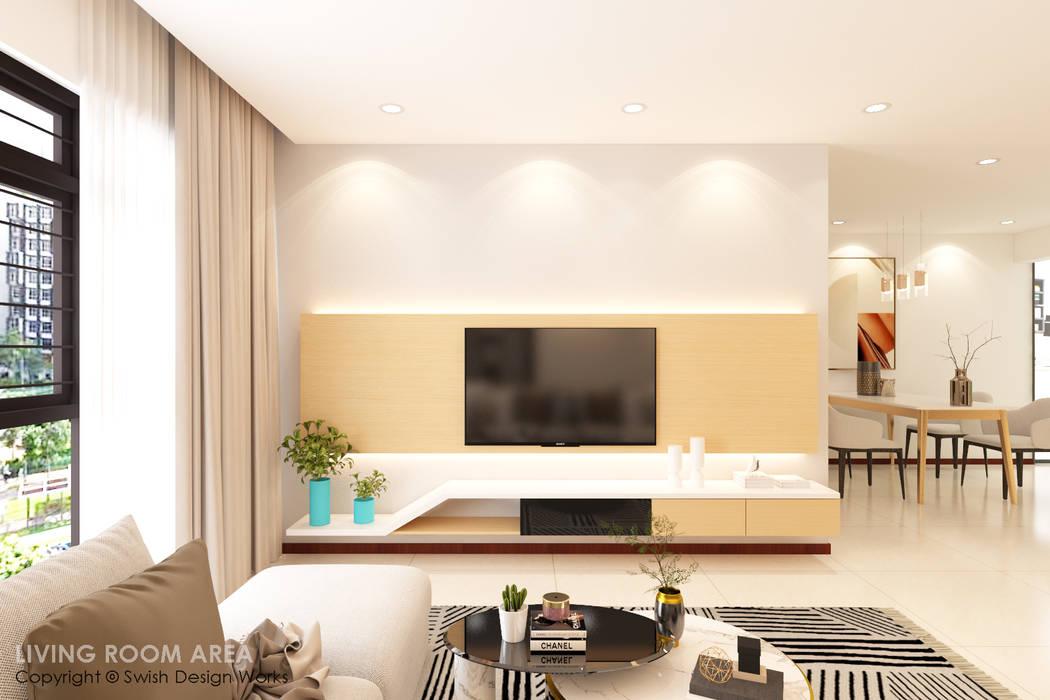 Salas modernas de Swish Design Works Moderno Contrachapado