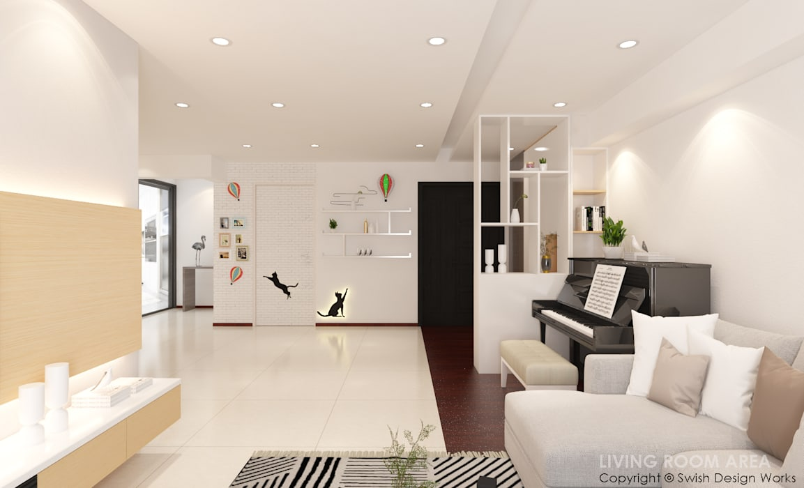 Swish Design Works Pasillos, vestíbulos y escaleras de estilo moderno Blanco