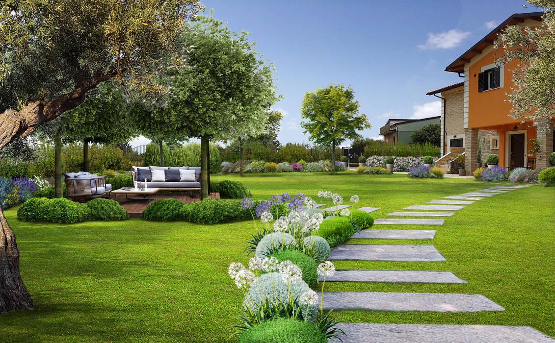 Area living sotto gli alberi di Verde Progetto - Adriana Pedrotti Garden Designer Mediterraneo