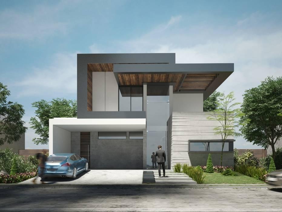 Imponente fachada moderna de residencia en Guadalajara Casas estilo moderno: ideas, arquitectura e imágenes de Rebora Moderno Concreto