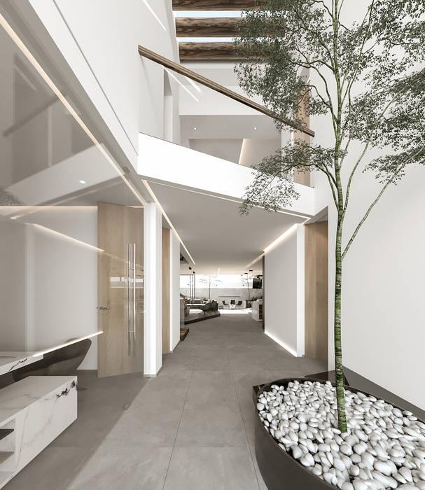 Hermoso árbol en interior con piedras blancas y espejo de agua Jardines modernos de Rebora Arquitectos Moderno Metal