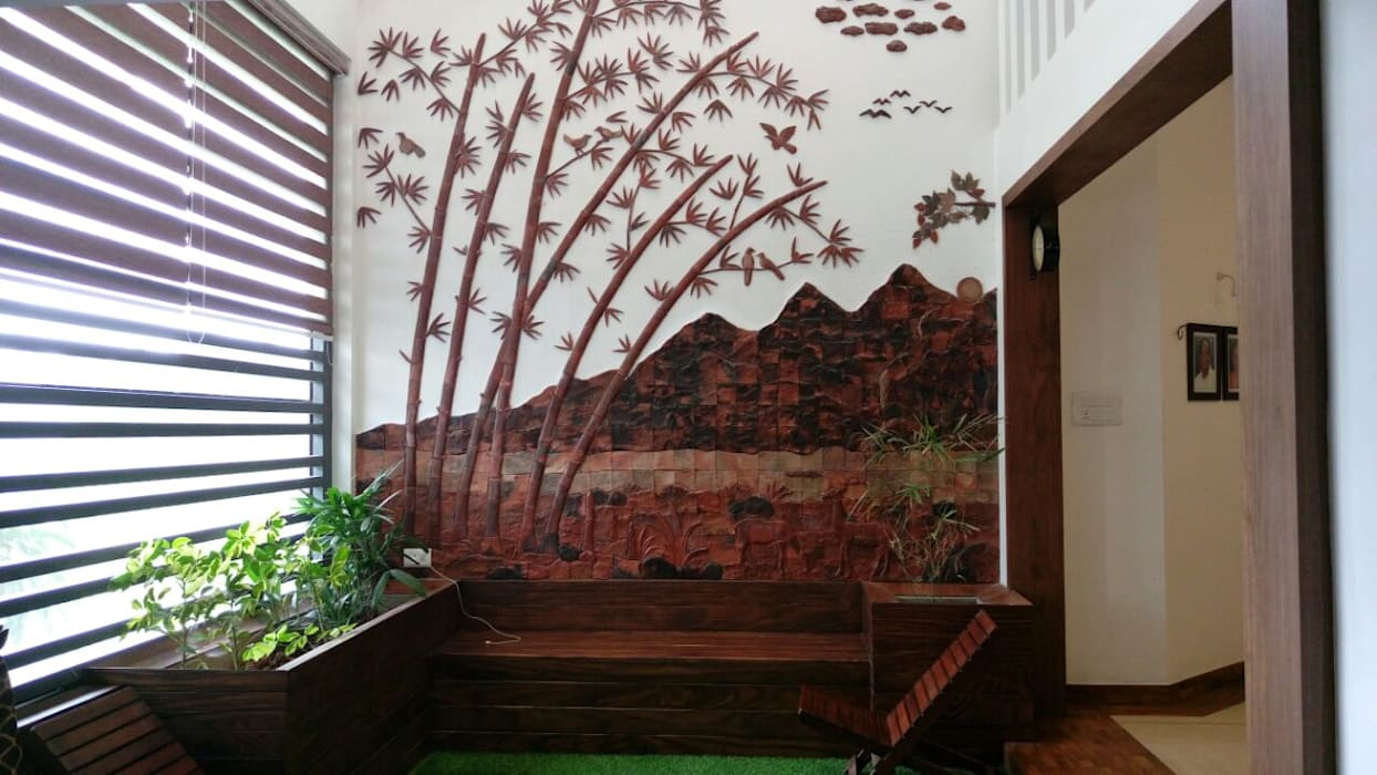 Terracotta murals on wall Rustic style corridor, hallway & stairs by Yuvarti Craft Rustic Ceramic