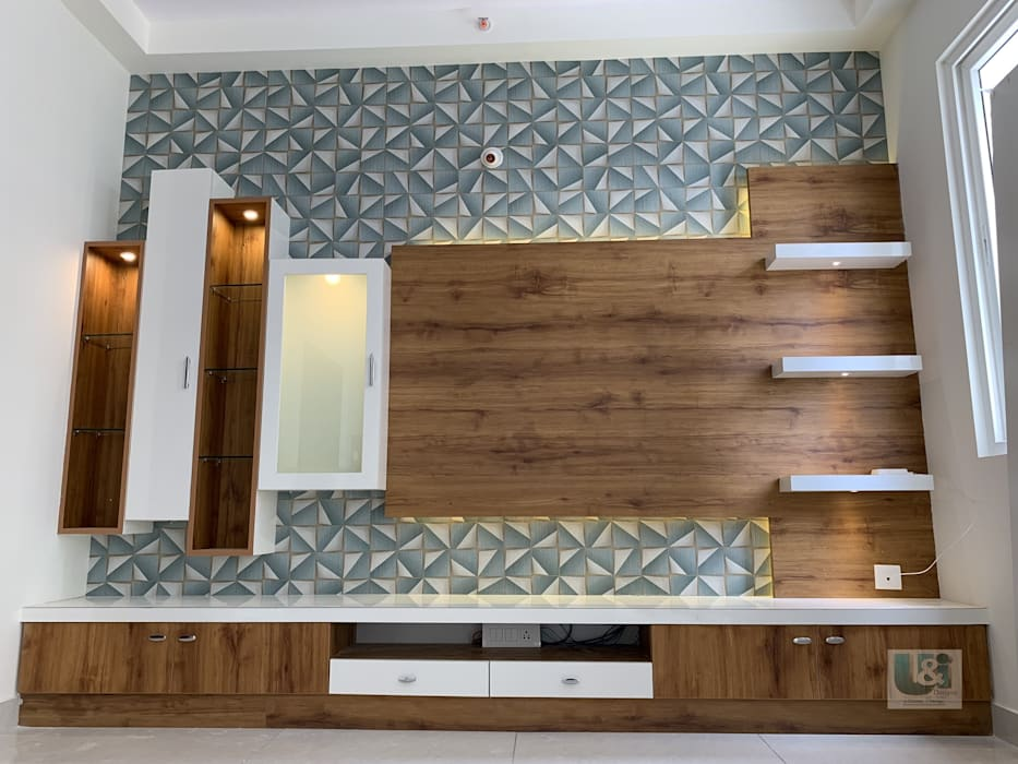 TV Unit with Wall Paper : modern  by U and I Designs,Modern