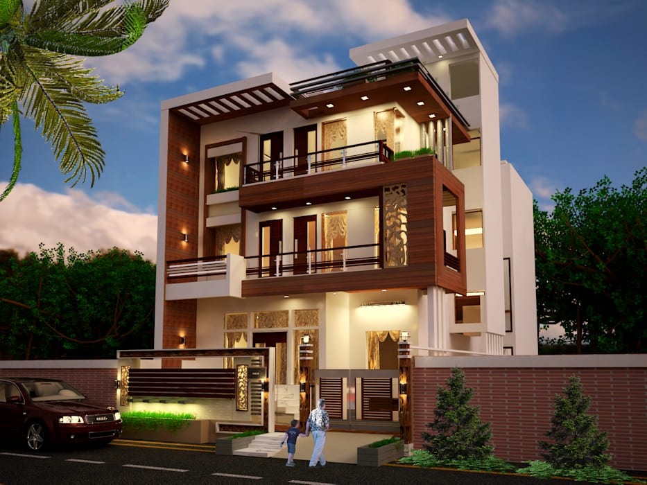 Exterior View by Inception Design Cell Modern Solid Wood Multicolored