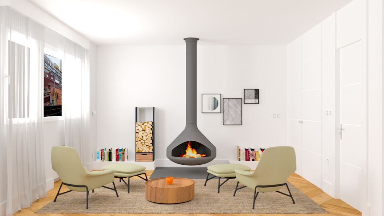 HABITACIÓN CON SALA DE LECTURA Y RELAX Salones de estilo minimalista de arQmonia estudio, Arquitectos de interior, Asturias Minimalista